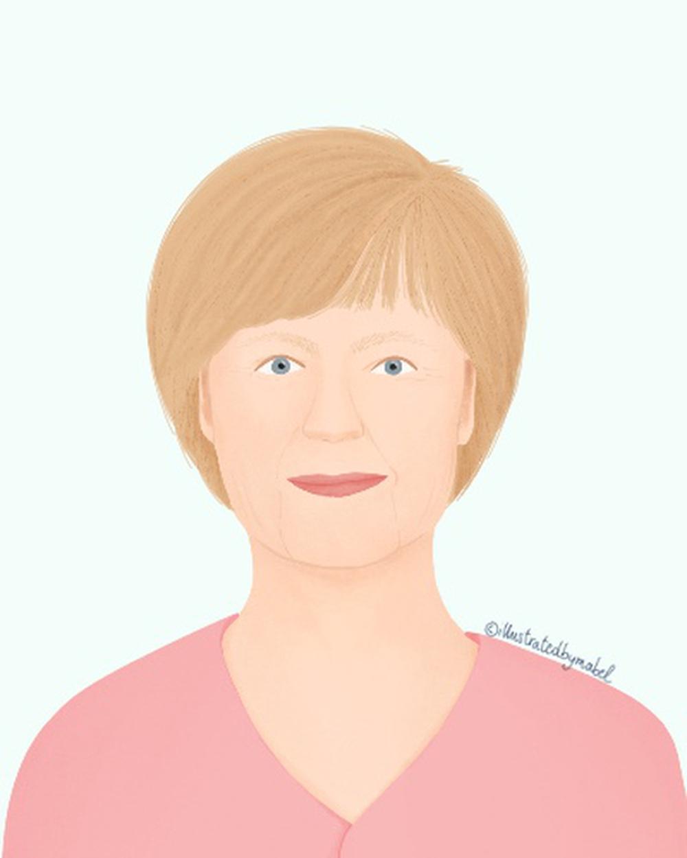 Woman portrait illustration Angela Merkel