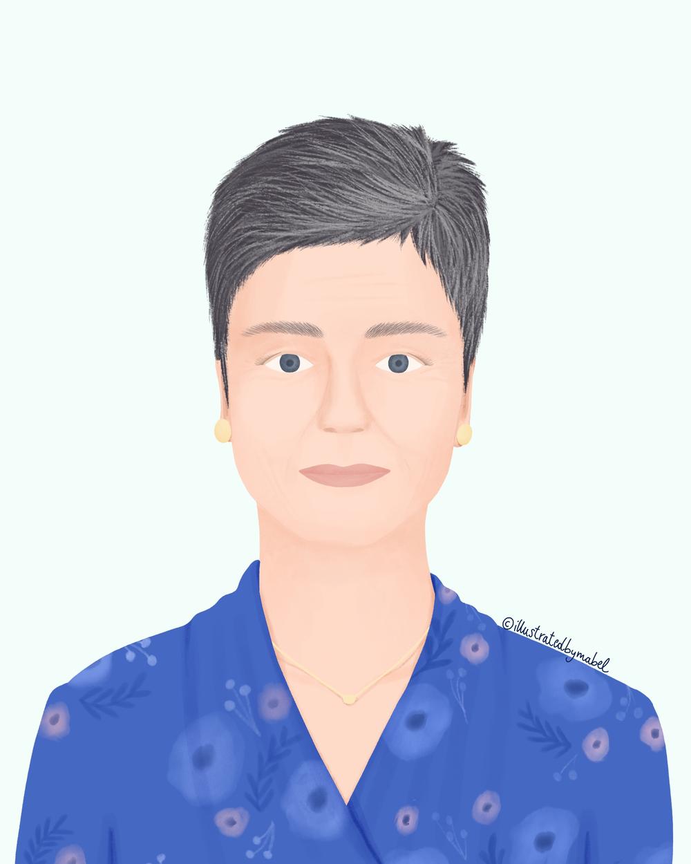 Woman portrait illustration Margrethe Vestager