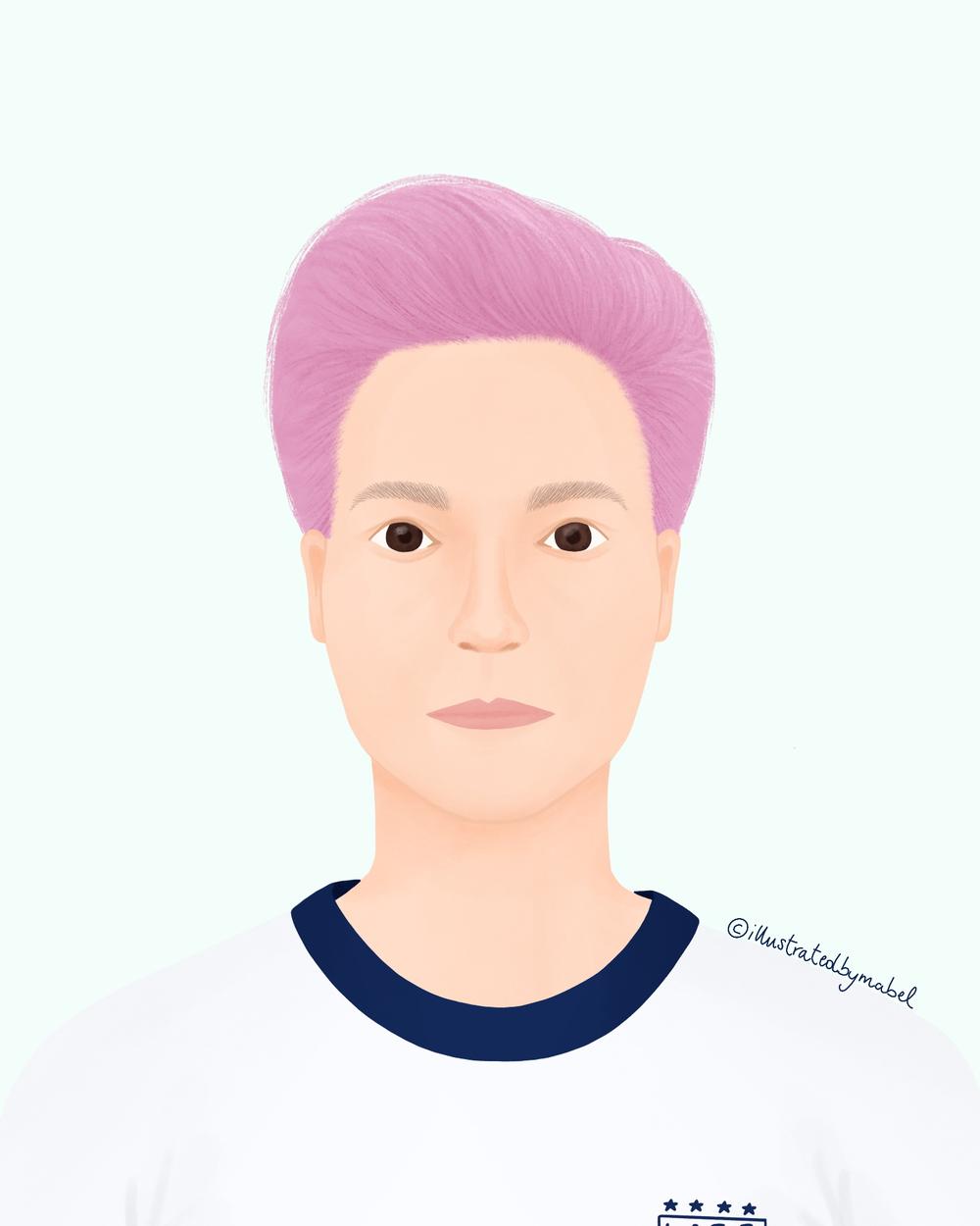 Woman portrait illustration Megan Rapinoe