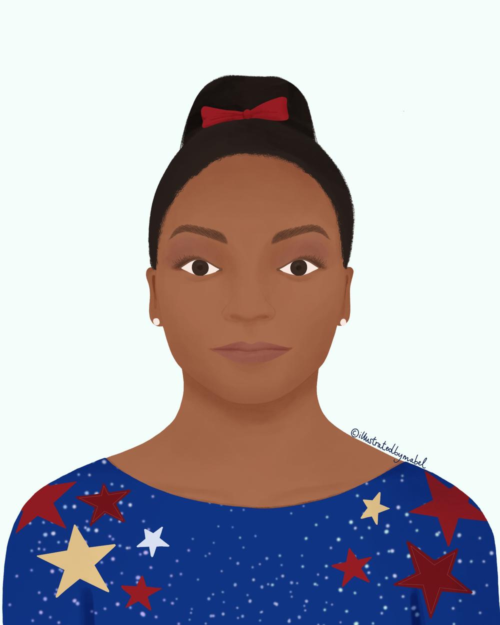 Woman portrait illustration Simone Biles